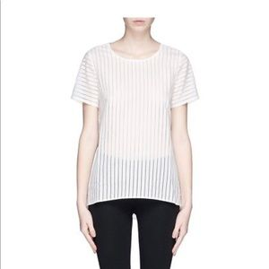 J Crew Shadow Sheer Stripe Short Sleeve Top 4